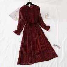 Женское Плиссированное шифоновое платье с принтом, весна-лето, новинка,, модное женское Повседневное платье с расклешенными рукавами и воротником в виде листа лотоса