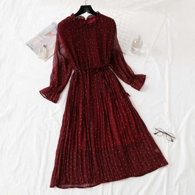 Women Print Pleated Chiffon Dress 2019 Spring Summer New Hot Fashion Female Casual Flare Sleeve Lotus leaf neck Basic Dresses 43