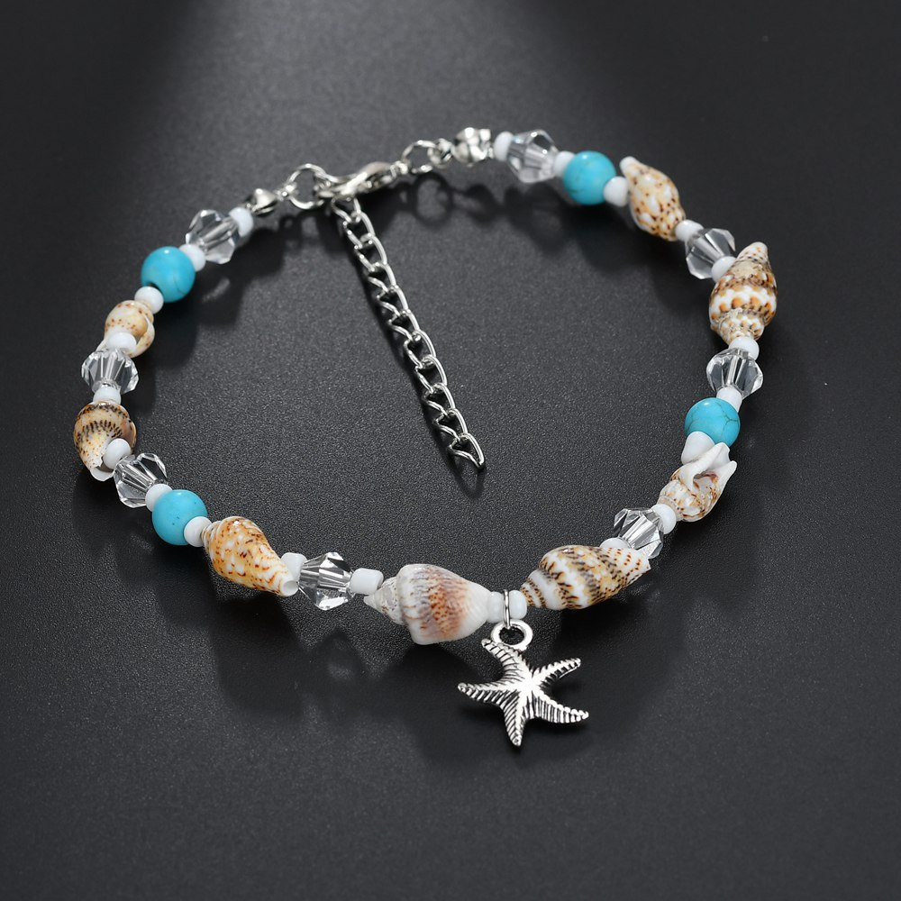Bohemian Conch Crystal Beaded Dangle Starfish Charm Anklet Bracelet for Fashion Women