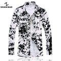 Camisa de algodão Mercerizado de alta qualidade plus size 7XL homens business casual longo-sleeved camisa impressão Fino camisa roupas masculinas da marca