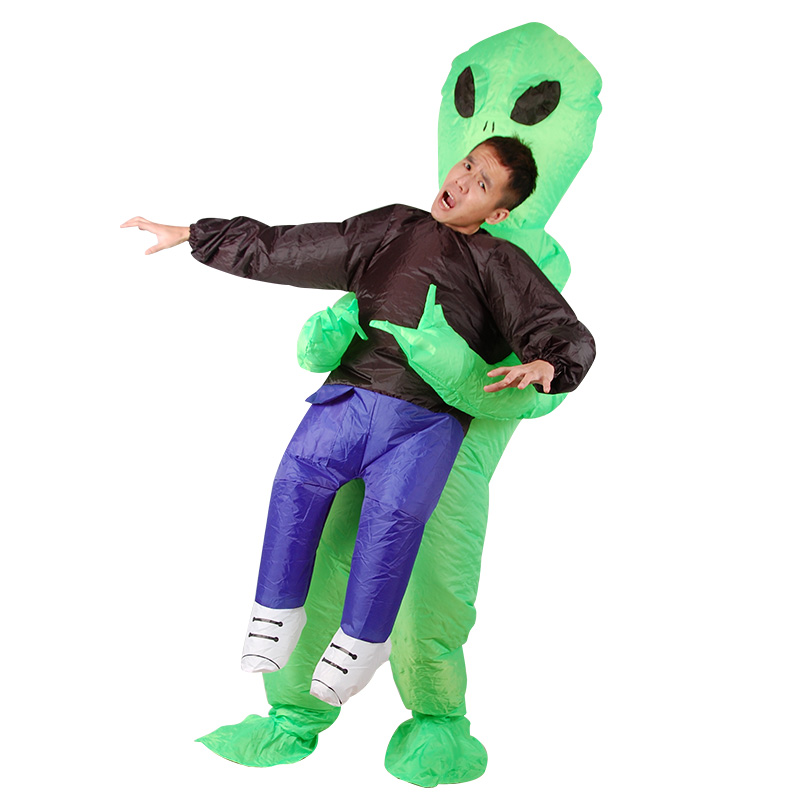 Adults Inflatable Costume Mens green Alien cosplay costume Stripper Reaper Fancy Dress for Halloween Purim party 1.5m-2m