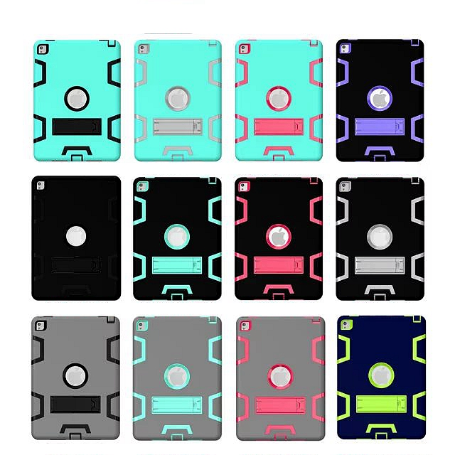 For Ipad Air2 Kids Safe Armor Shockproof Heavy Duty Silicon+PC Stand Back Case Cover For Ipad Air 2 360 degree protection Cases for amazon 2017 new kindle fire hd 8 armor shockproof hybrid heavy duty protective stand cover case for kindle fire hd8 2017