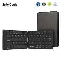 Jelly Comb Foldable Bluetooth Keyboard 3.0 Ultra Slim Folding Mini Rechargeable Keyboard for iPad Android Mac OS Laptop Tablet