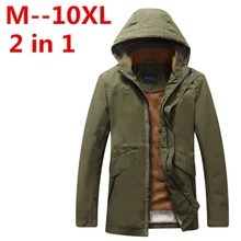 plus size 10XL 9XL 8XL 6XL 5XL 4XL 2017 New Arrival Top Quality Men Warm Parkas Heavy Wool Men Winter Jacket Men 2 in 1 Coat