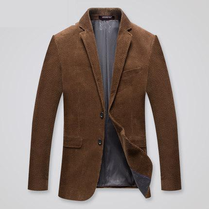 Suit Jacket Blazers Corduroy Mens Cotton High-Quality Outerwear Single-Breasted Youth
