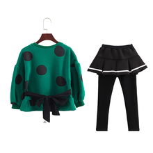 2PCS Sport Kid Costume Girls Clothing Sets Polka Dot Long Sleeve Shirt+ Skirt-Pants 2pcs Baby Girl Clothes Teenage