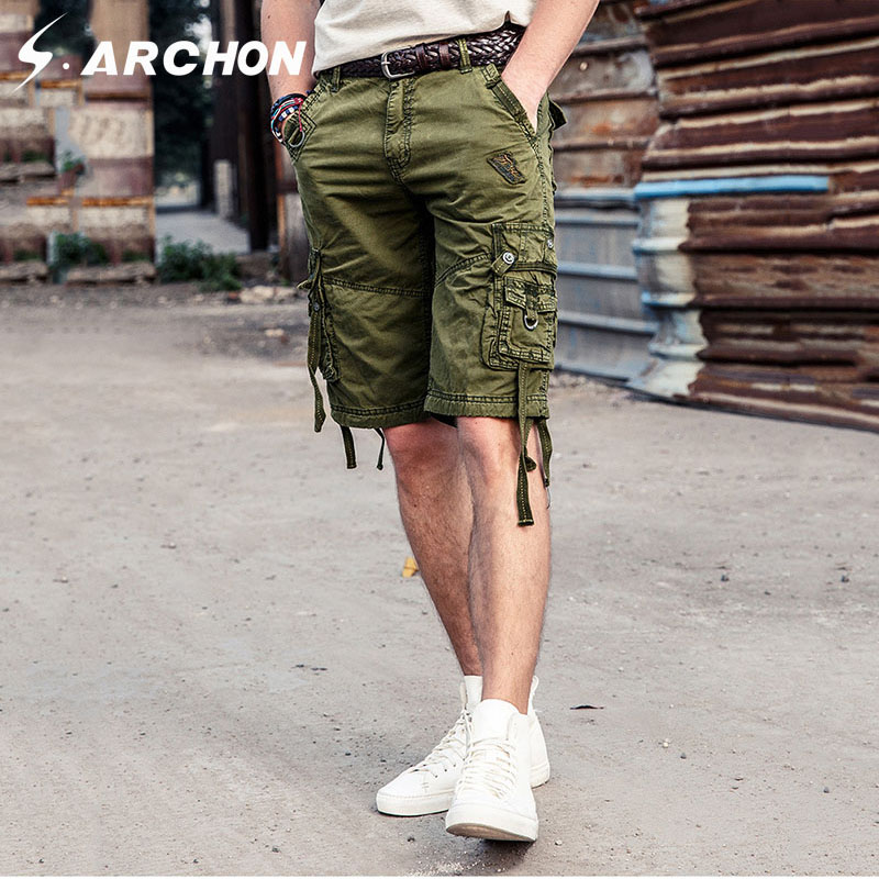 S.ARCHON Casual 100% Cotton Breathable Multi Pockets Tactical Cargo Shorts Men Summer Fashion Loose Military Style Army Shorts