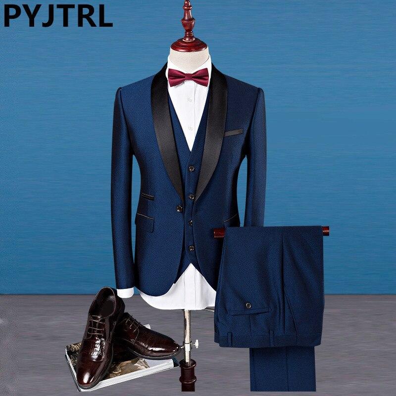 PYJTRL clásico chal Collar Mens traje de tres piezas vino rojo azul real más tamaño 4XL negocio Casual partido boda trajes para hombres
