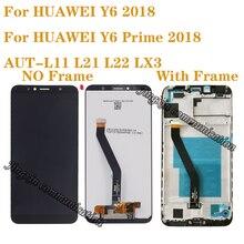Yeni ekran için Huawei Y6 başbakan 2018 ATU L11 L21 LCD ekran dokunmatik ekran digitizer aksesuarları Y6 2018 lcd çerçeve