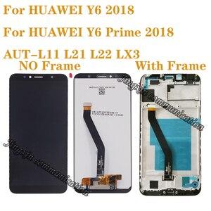 Image 1 - Yeni ekran için Huawei Y6 başbakan 2018 ATU L11 L21 LCD ekran dokunmatik ekran digitizer aksesuarları Y6 2018 lcd çerçeve