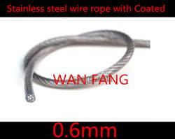100 м диаметр 0.6 мм нержавеющей стальной трос с пвх с пластиковым покрытием прозрачный ( 0.5 мм трос с 0.1 мм покрытие )