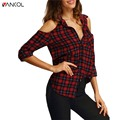 Women 2017 New Arrival Off Shoulder Long Sleeve Women Blouse Plus Size XL Slim Brand Designer Red Tops Women Plaid Shirt