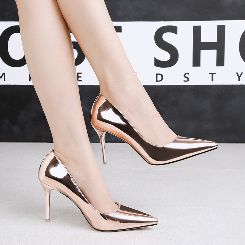 2018 Women 9cm Thin High Heels Lady Quality Stiletto Glossy Gold Silver Pumps  Female Elegant Sweet 0585f4db491d