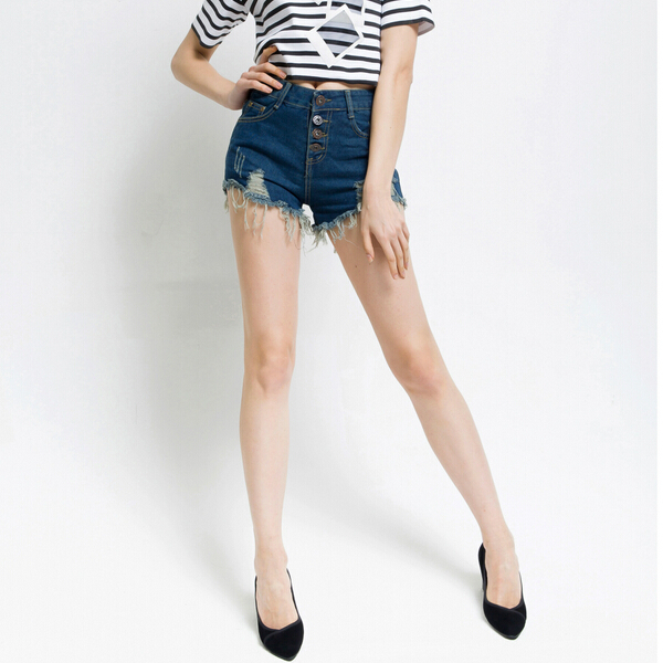 c7b9d45f55 Summer Vintage Women Denim Shorts Mid Waist Retro Destructed Denim Shorts  Ripped Frayed Jeans Cutoff Shorts with Hole DF850086-in Shorts from Women's  ...