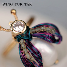 Vintage Bee Freshwater Pearl Rings For Women Handwork Weave Gold Color Cocktail Party Ring Fashion Jewelry цены онлайн