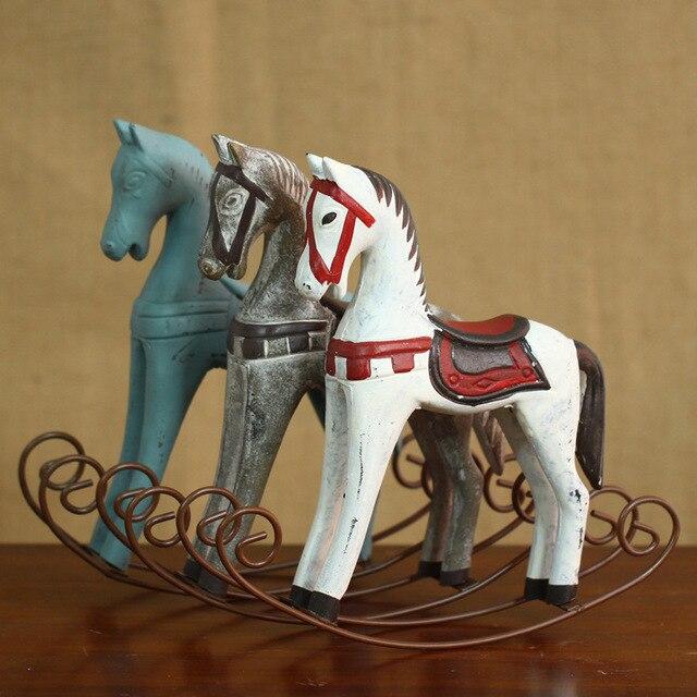 Retro Wood Craft Rocking Horse Decoration Vintage Home Decor Wedding Gift Furnishing Ornaments