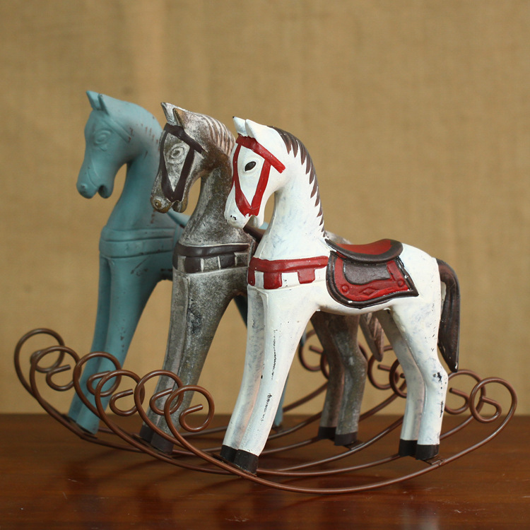 Retro Wood Craft Rocking Horse Decoration Vintage Home Decor Wedding Gift Home Furnishing Ornaments