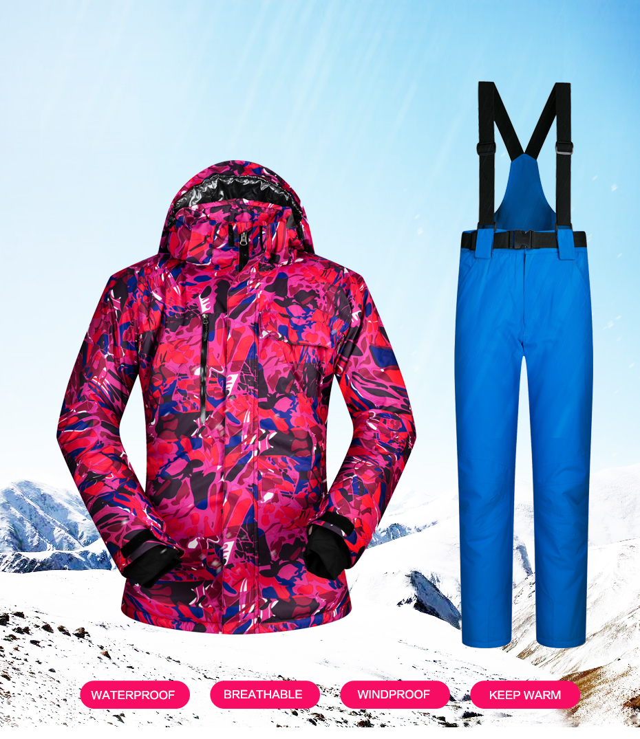 d575bf83bc ... Snowboarding Suits Skiing Female Winter Jacket and Pants Waterproof  Windproof. US   119.6 - 130.06   Piece. 1 01 ...