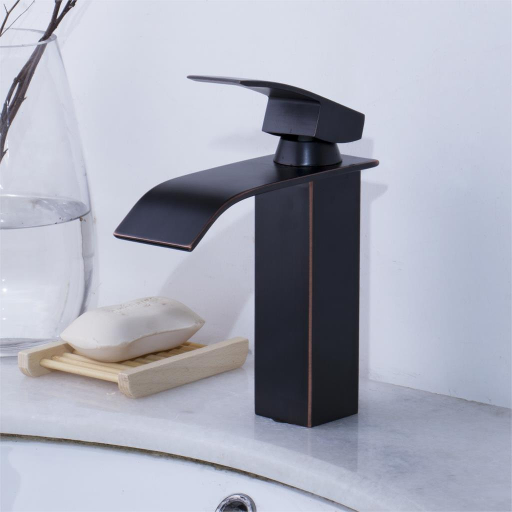 Bathroom Waterfall Basin Faucet High Quality Deck Mounted Black ORB Basin Faucet Cold And Hot Bathrom