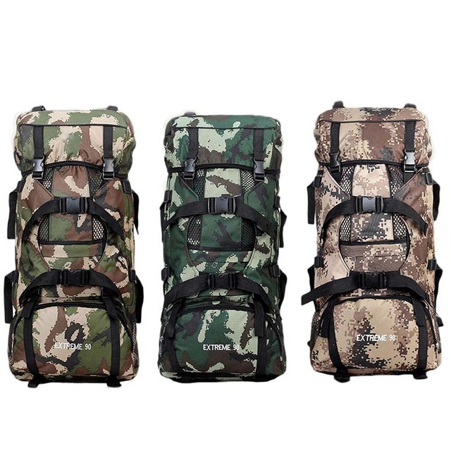 b4b91f89deb6 90L Large Capacity Camouflage Bag Army Military Backpack Outdoor  Mountaineering Hiking Backpack Bag Travel Climbing Rucksacks