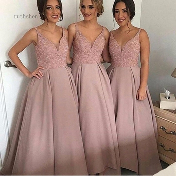 Pink Bridesmaid Dresses V Neck Beading A Line Long Satin Modest Maid Of Honor Dress Prom Party Gowns Cheap Custom Made
