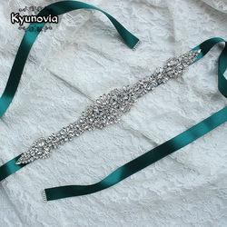 Kyunovia crystal wedding belts satin rhinestone wedding dress belt wedding accessories bridal ribbon sash belt fb19.jpg 250x250