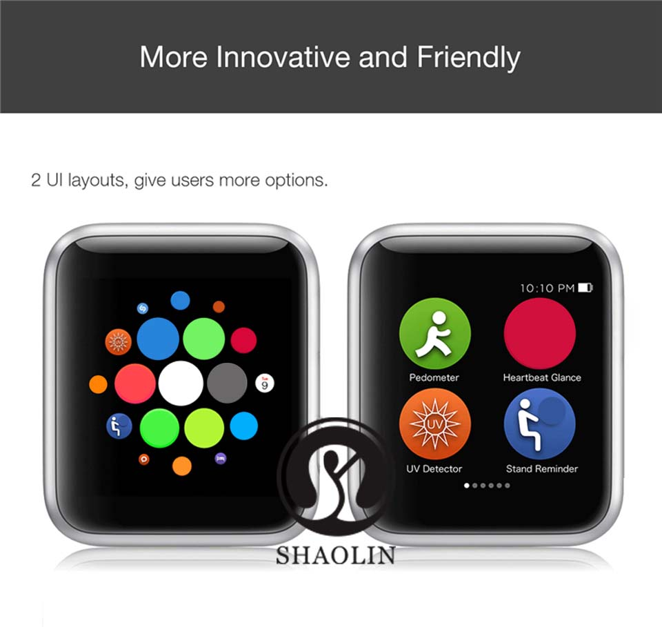 SHAOLIN Bluetooth Smart Watch Heart Rate Monitor Smartwatch Wearable Devices for apple watch iPhone IOS and Android Smartphones-1