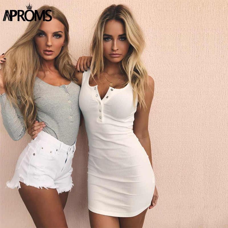 4509d08fc27 Aproms белый трикотажное эластичное Летнее мини-Элегантное платье без  рукавов платье на бретелях сарафаны Для