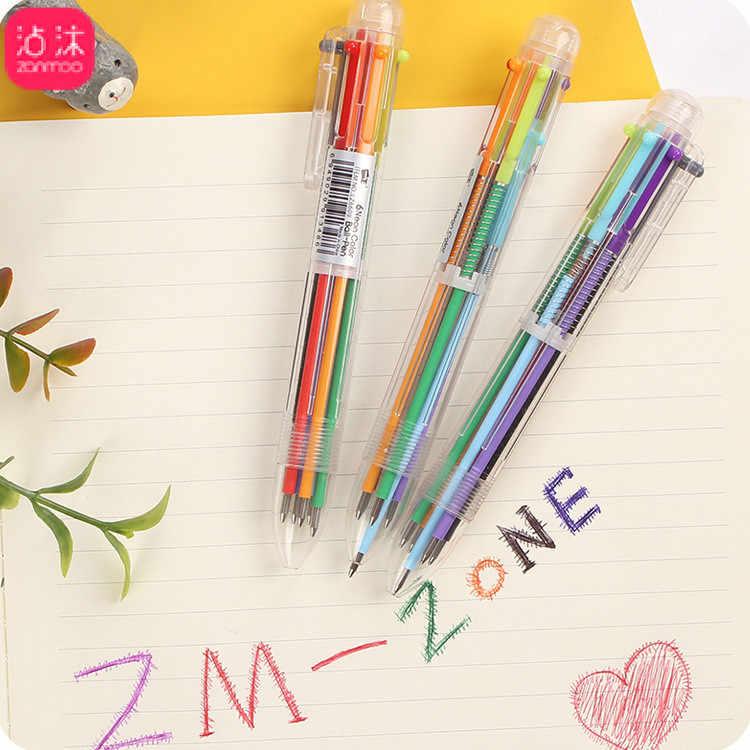 1pcs Kawaii office gel pen Creative cute six colour pattern school stationery Supplies Black ink 0.5mm Pen refill