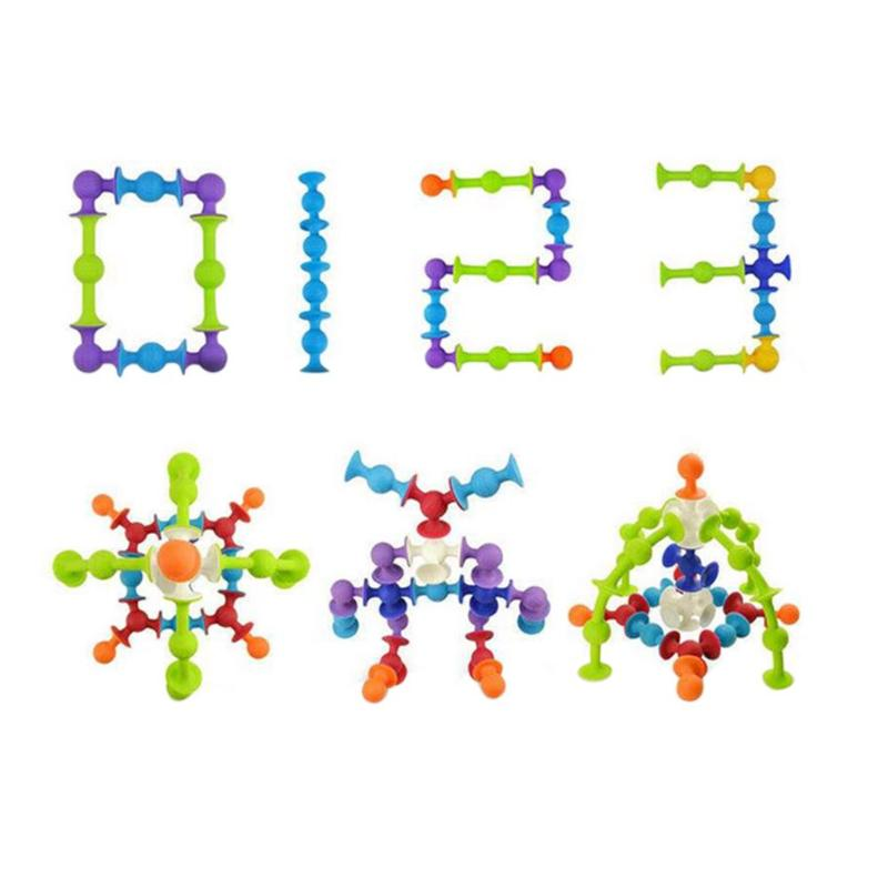 40-100 pcs Silicone Building Blocks DIY Sucker Cup Assembled Suction Cup Funny Construction Educational Toys for Children Kids