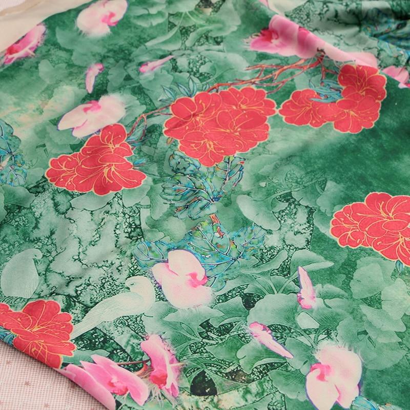 50*140cm Butterfly <font><b>Orchid</b></font> Chinese style Silk Fabric For Cheongsam Gambiered Canton Gauze Fabric For Silk Scarf DIY <font><b>Handbag</b></font>
