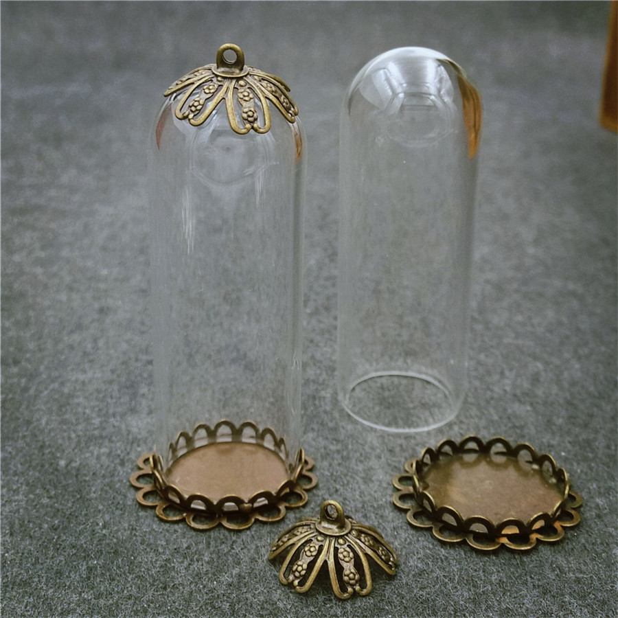 5sets 50x18mm glass tube bronze base beads cap glass vial pendant bottle dome jewelry findings in Pendants from Jewelry Accessories