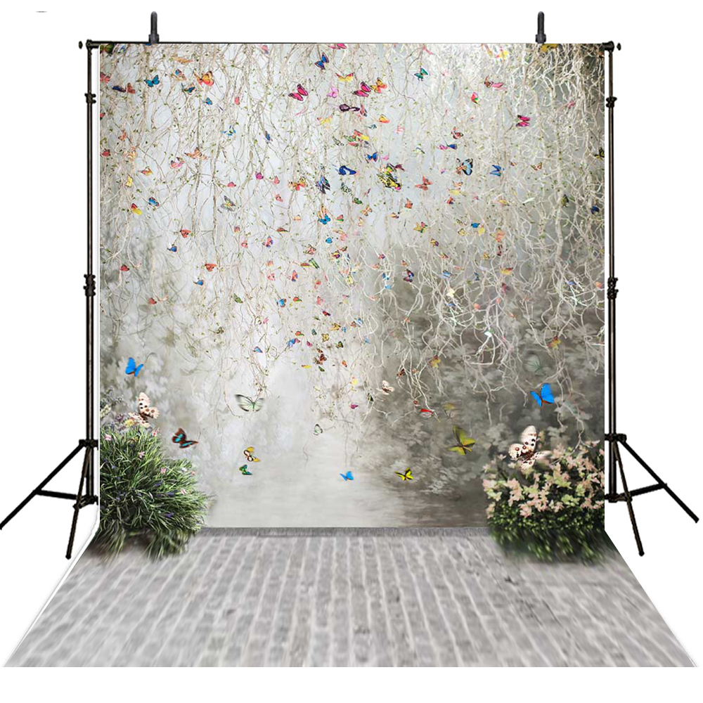 TR Butterfly Romantic vinyl wedding photography backdrops 200*300cm(6.5*10ft) studio fotografia backgrounds for studio 200 300cm 6 5 10ft studio backdrop for alentine s day vinyl custom photography letter combinations romantic colorful for youth