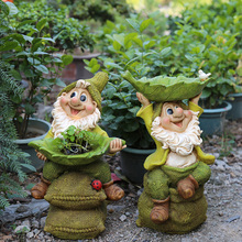 Garden Character Statue Yard Balcony Figurines Home Furnishing Decor Dwarf Holding Leaves Sitting On Stacked Sacks A Flower Pot