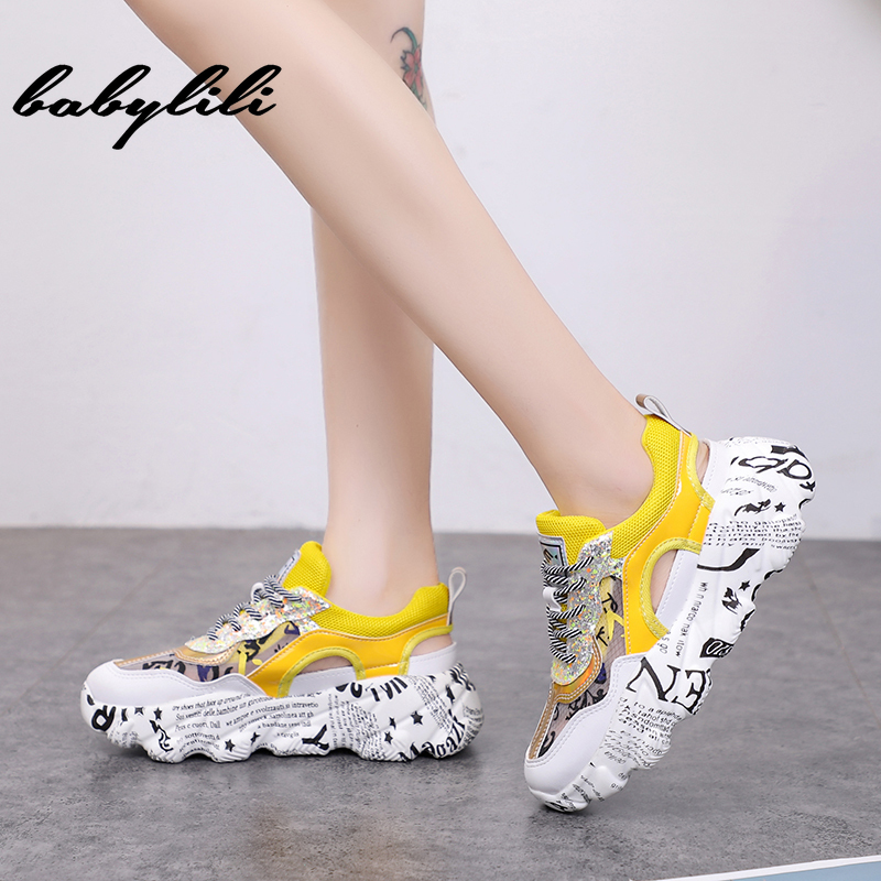 2019 New Trendy Chunky Sneakers Women Shoes Colorful Yellow Purple Sneaker Platform Hollow Casual Shoes Woman chaussures femme2019 New Trendy Chunky Sneakers Women Shoes Colorful Yellow Purple Sneaker Platform Hollow Casual Shoes Woman chaussures femme