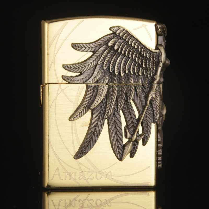 Image 3 - Gas Lighter Butane Lighter Amazon Female Warrior Cigarette Cigar Flame Tobacco Big Angel Wings Fire Bar Lighters-in Matches from Home & Garden