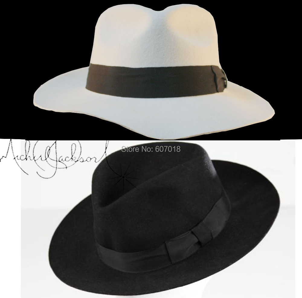 235bece7f US $33.99 15% OFF|WOW 2pcs MICHAEL JACKSON White&Black Hats Fedora Smooth  Criminal&Billie Jean Classic Fedora with name-in Men's Fedoras from Apparel  ...