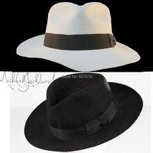WOW 2pcs MICHAEL JACKSON White&Black Hats Fedora Smooth Crim
