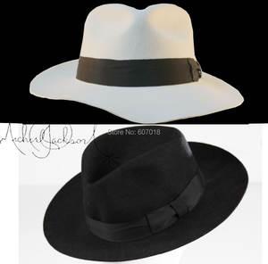 WOW 2pcs MICHAEL JACKSON White Black Hats Classic Fedora e7833a71fc83