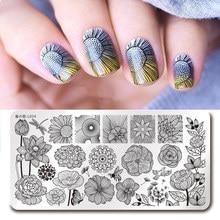 Harunouta L034 Nail Art Stamping Plates 12*6cm Rectangle Flower Lotus Dragonfly Nail Art Stamping Image Plates Nail Art Tools