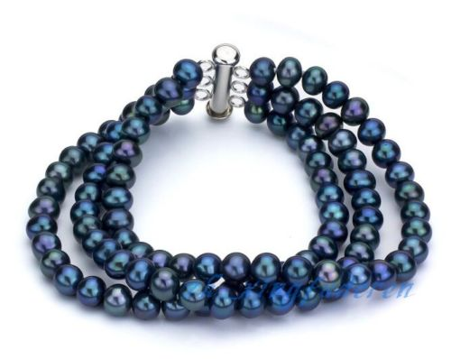 free shipping 3 rows excellent peacock blue 7-8mm genuine pearl noble women's gift bracelet@^Noble style Natural