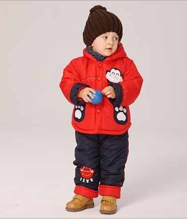 Children / Baby winter suit +pant lovely monkey clothing boy fur clothing suit winter clothing set kids suit