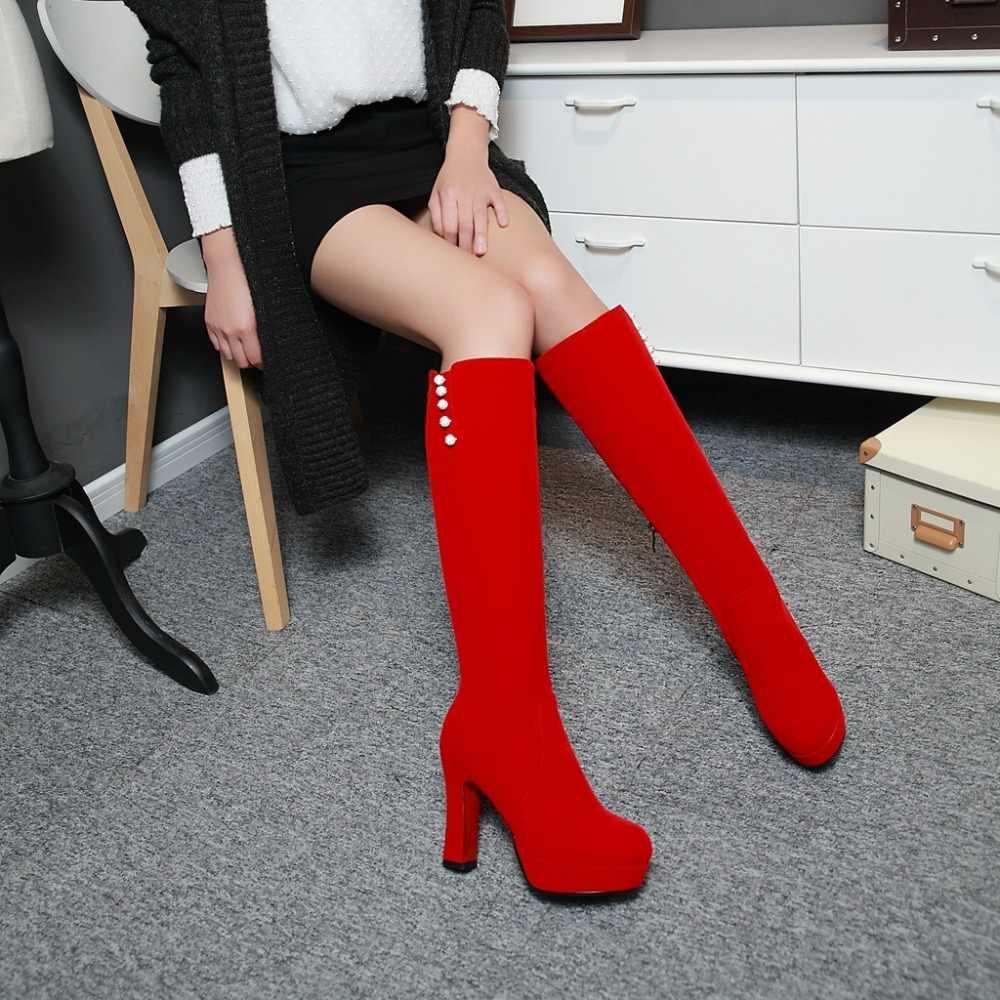 Talla grande 33-41 2017 Invierno Caliente nuevas botas de tacón alto ocio elegantes tacones Sexy zapatos de mujer punta redonda botas hasta la rodilla de TX-1