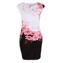 Summer Floral Women Dress Plus Size 3XL Elegant Ladies Office Party Dress Vestido Female Slim Sheath Bodycon Dress Blue