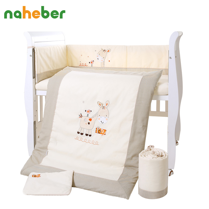 7Pcs Cotton Baby Crib Bedding Set for Girls Boys Cartoon Deer Newborn Baby Bed Linen Cot Quilt Bumpers Pillow Sheet Set 4 Size