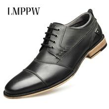 New 2019 Men Dress Shoes Genuine Leather Brogue Wedding Party Shoes British Fashion Men Oxfords Formal Shoes Black Big Size 2A недорого