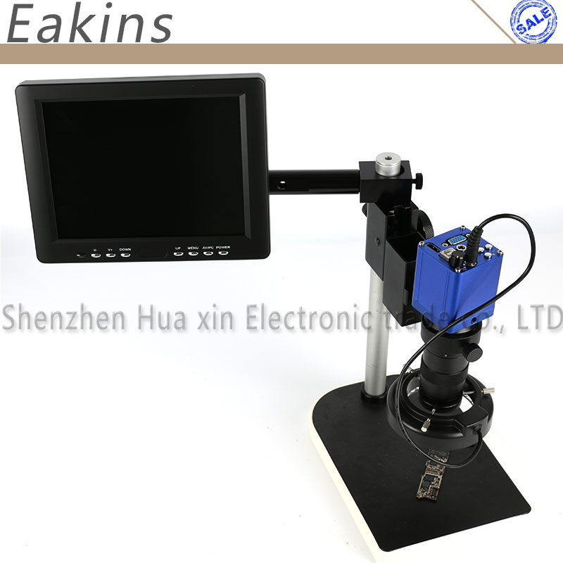 1080P 45 FPS Digital Industrial Microscope Camera 56 LED Adjustable light source 100X C-Mount Lens 8 LCD Monitor