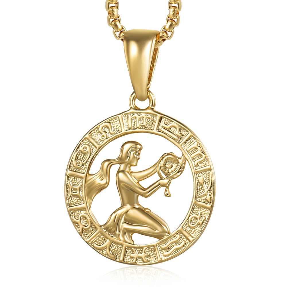Znak zodiaku panna znak naszyjnik dla kobiet mężczyzn żółty złoty wisiorek naszyjnik mężczyzna kobieta moda biżuteria osobiste urodziny prezenty GP362A