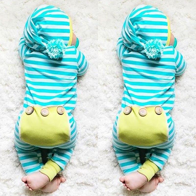 Neugeborene Jungen Mädchen Kleidung Nette Mit Kapuze Kleidung Strampler Long Sleeve Striped Overall Baby Jungen Outfit