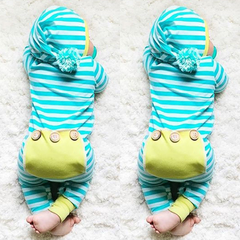 Roupa Do Bebê Recém-nascido Menino Menina Com Capuz Bonito Roupas Romper Macacão de Bebê de Manga Longa Listrada Meninos Outfit